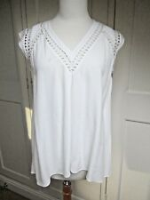 Rebecca Taylor White Woven Cut-Out V-Neck Sleeveless Top. Size S or UK 10