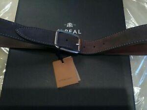 £355 Corneliani LK Drake Harrods grey suede Belt W 34-38 UK EU 50-54