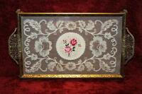 Vintage 1950s Petit Point Ormolu Embroidered Dressing Table Tray - Clean EXC