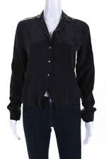 Equipment Femme Womens Silk Notched Collar Button Down Blose Black Size Small