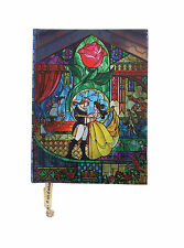 Disney Beauty & the Beast Stained Glass Journal Notebook Diary w/ Rose Bookmark