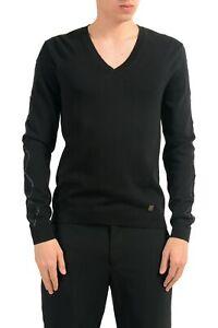 Versace Collection Men'S Detailed Black V-Neck Sweater Size S M L XL 2XL