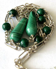 NOS Vintage Sterling Silver 925 Malachite Bead Ladies Dangle Necklace Chain
