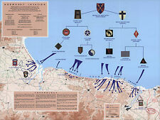 1944 War Map D-Day 6th of June Normandy Military WWII History Wall Poster 11x14