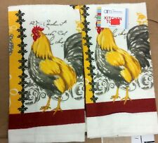 """2 SAME PRINTED KITCHEN TOWELS, 15"""" x 25"""", YELLOW ROOSTER by AM"""