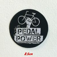 Pedal Power Bicycle Badge Black Embroidered Iron Sew on Patch #1543B