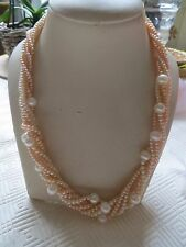 18k gold/AA akoya/ peach/white/akoya pearl necklace, choker/torsade style/boxed