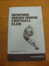 Programma di rugby 20/04/1974: BEDFORD V COVENTRY (lieve segno sul fronte). Foo