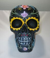 Black Sugar Skull Statue Day of the Dead Hand Painted