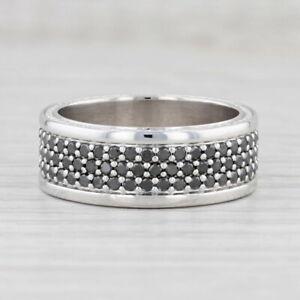 1.25ctw Black Diamond Ring 10k White Gold Size 9.75 Stackable Wedding Band