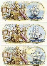"""3 Clipper Ship Sea Treasure Chest Wrap Wraparound 7 1/2"""" X 3 1/4"""" Ceramic Decals"""