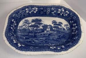 English Copeland SpodeTower Blue & White Rectangular Serving Dish Platter
