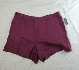 New Lord & Taylor 18W Burgundy Red Linen Shorts