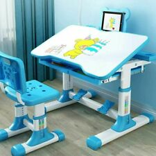Height Adjustable Kids Children's Study Desk and Chair Set Child Table Blue Us