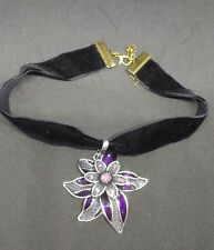 Steampunk, Goth, Victorian Velvet Ribbon Choker With Purple Flower Pendant