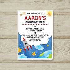10 Personalised Birthday Party Invitations Child Space Rocket Ship, Stas, Planet
