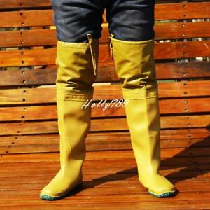 Men's Rain Boot Shoes Rubber Lace Up Fishing Waterproof Work Knee High Boots