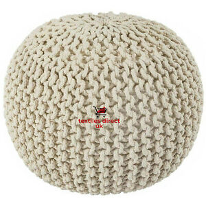 New 50cm Large Knitted Hand Made Moroccan Pouffe Stools Braided Beans Footstools