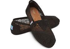 TOMS WOMENS BLACK MOROCCO CROCHET SLIP-ON SHOES