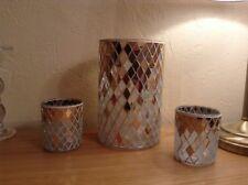 Yankee Candle Holiday Party Celebrate Mosaic Jar Holder & pair votive holders