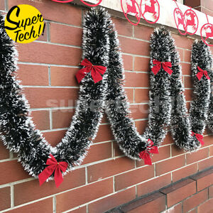 Christmas Tinsel Garland Bows Party Xmas Tree Ornaments Home Door Fireplace Dec