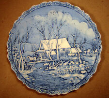 Fenton Signed Winter in the Country Old Grist Mill 1980 Collectible Plate Blue