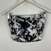 Kookai Womens Tube Top 34 Black Abstract Sleeveless Zip Closure Cropped