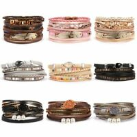 Fashion Women Crystal Punk Leather Wrap Braided Wristband Cuff Bracelet Bangle