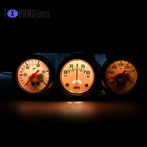 2'52mm Chrome Car Triple Gauge Kit Oil Pressure Water Temp meter White ATF