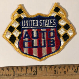 Vintage USAC United States Auto Club Logo Patch Indy Car Racing Checkered Flags