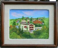 Vintage Folk Art European Landscape Painting