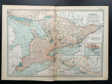 Antique Map Of Ontario Lake Erie Toronto North America  1903