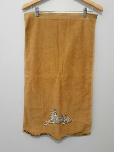 "Avanti Embroidered Leopard Hand Towel Caramel Brown Animal Print 16"" x 27"""