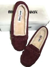 Minnetonka Layla Linked Burgundy Suede Moccasin Flats Shoes size 10