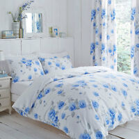 Polycotton White Background With Blue Rose Design Duvet Set and/or Curtains