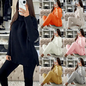 Womens Chunky Knitted Loungewear Ladies Polo High Neck Top Leggings Suit Set New