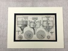 1880 Antique Print Grinding Mill Stone Equipment 19th Century Engineering