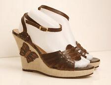 Ravel Brown Wedge Butterfly High Heel Sandals Shoes Size 8 EUR 41 Vintage Look