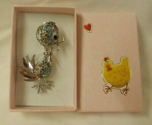 Chicken / Chick diamante brooch with decorated gift box