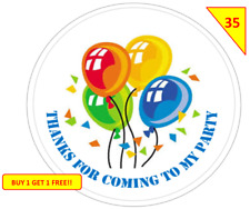 70 Birthday Baloons Party Labels Stickers  sweet Cone Gifts Non Personalised