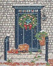 NEEDLEPOINT HandPainted CHRISTMAS Susan Wallace Barnes BLUE DOOR 18M