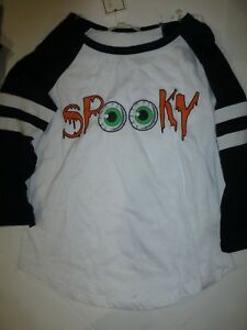 Halloween Girls Large 14 White and Black SPOOKY 3/4 Sleeve Jersey Shirt New