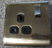 2 X Antique Brass 13a DP 1gang Switched Socket-screwless