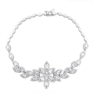 2 Ct. HI Color SI Clarity Diamond Charm Bracelet Solid 18k White Gold Jewelry