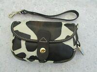 DOONEY & BOURKE WRISTLET POUCH, Brown & White Giraffe Print Leather, Excellent