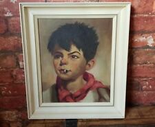 Oil painting framed canvas Dutch Boy smoking Jan Peters in the Tretchikoff style