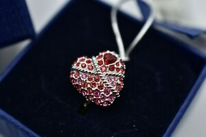 Swarovski Signed NWT Roxane Heart Ring Pink Red Rhinestone Crystals Silver Bin7