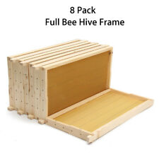 8 Pack Full Bee Hive Wooden Frames Wired Wax Natural Foundation Honey Box Set