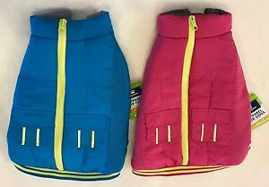 Pink & Yellow Winter Dog Coat - S or M - Adjustable Straps - Top Paw - NWT