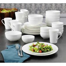 40 Piece Mikasa Bone China Dinnerware Set Swirl White Pattern Service for 8